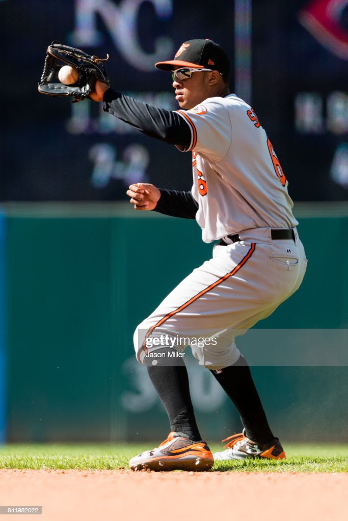 Second baseman Jonathan Schoop #6 of the Baltimore Orioles fields a line drive hit by Erik Gonzalez #9 of the Cleveland Indians during the eighth inning at Progressive Field on September 9, 2017 in Cleveland, Ohio. The Indians defeated the Orioles 4-2.