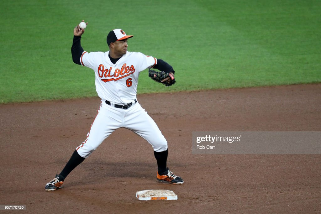 Second baseman Jonathan Schoop #6 of the Baltimore Orioles throws to first base after forcing out a Kansas City Royals runner at Oriole Park at Camden Yards on May 10, 2018 in Baltimore, Maryland.
