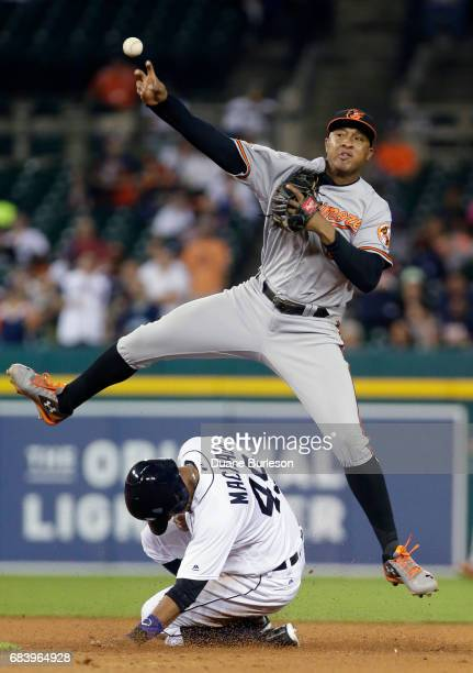 Second baseman Jonathan Schoop of the Baltimore Orioles turns the ball for a double play after getting a force out on Dixon Machado of the Detroit...