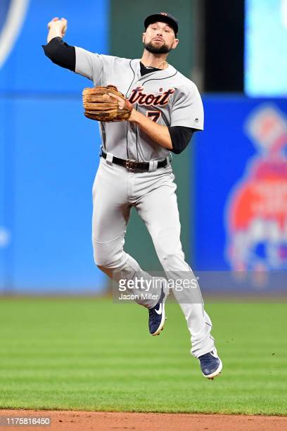 Second baseman Jordy Mercer of the Detroit Tigers throws out Jordan Luplow of the Cleveland Indians at first during the fourth inning at Progressive...