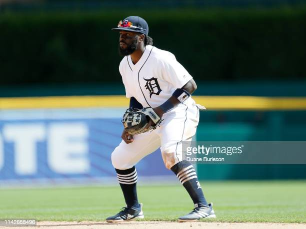 Second baseman Josh Harrison of the Detroit Tigers against the Cleveland Indians at Comerica Park on April 9 2019 in Detroit Michigan