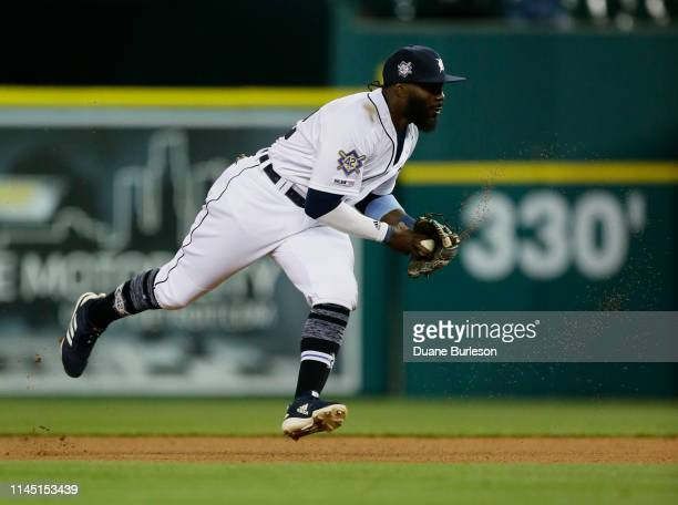 Second baseman Josh Harrison of the Detroit Tigers fields a grounder hit by Adam Frazier of the Pittsburgh Pirates at Comerica Park on April 16 2019...