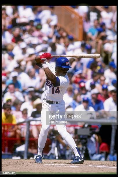 Second baseman Julio Franco of the Texas Rangers prepares to swing at the ball Mandatory Credit Joe Patronite /Allsport