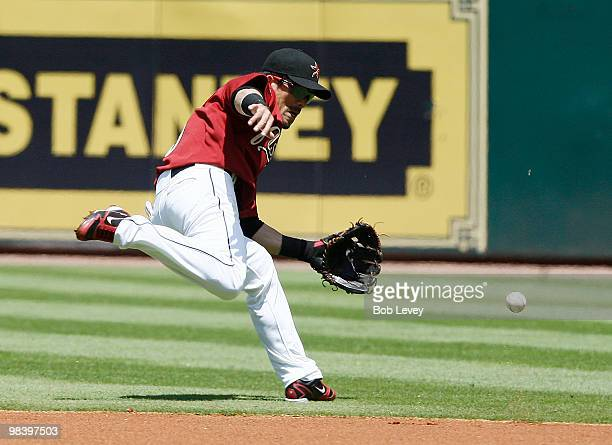 Second baseman Kazuo Matsui of Japan makes a play on a ball hit in the gap at Minute Maid Park on April 11 2010 in Houston Texas
