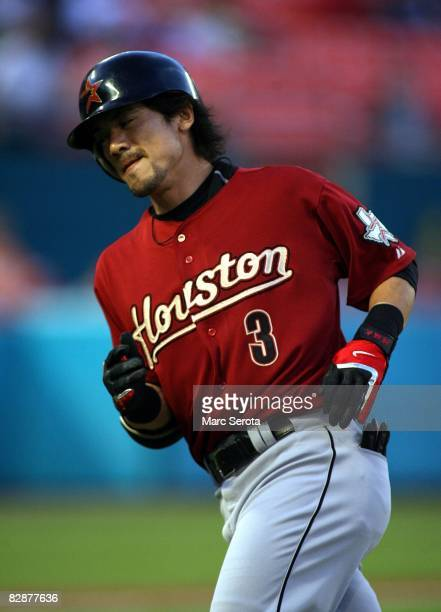 Second baseman Kazuo Matsui of the Houston Astro bats against the Florida Marlins in the fourth inning on September 17, 2008 at Dolphin Stadium in...