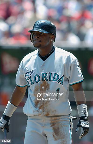 Second baseman Luis Castillo of the Florida Marlins stands at the plate during the MLB game against the Cincinnati Reds at Cinergy Field in...