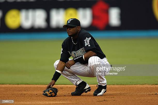 Second baseman Luis Castillo of the Florida Marlins waits for play during the National League game against the Houston Astros at Pro Player Stadium...