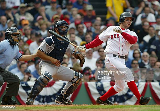 Second baseman Mark Bellhorn of the Boston Red Sox at bat during the game against the New York Yankees on April 17, 2004 at Fenway Park in Boston,...