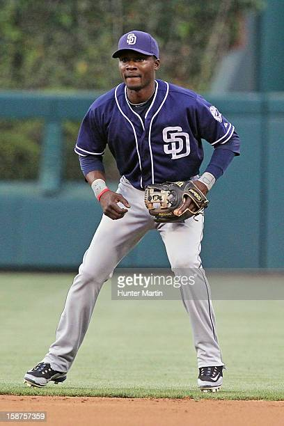 Second baseman Orlando Hudson of the San Diego Padres during a game against the Philadelphia Phillies at Citizens Bank Park on May 12 2012 in...