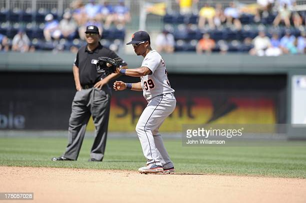 Second baseman Ramon Santiago of the Detroit Tigers fields a ground ball in the game against the Kansas City Royals on July 21 2013 at Kauffman...