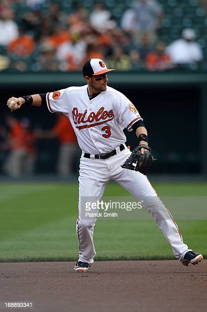 Second baseman Ryan Flaherty of the Baltimore Orioles in action against the San Diego Padres during the interleague game at Oriole Park at Camden...