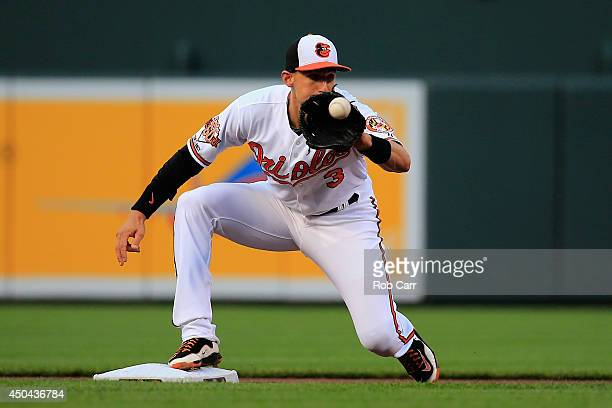 Second baseman Ryan Flaherty of the Baltimore Orioles makes a catch against the Boston Red Sox at Oriole Park at Camden Yards on June 9 2014 in...
