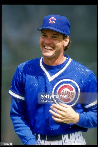 Second baseman Ryne Sandberg of the Chicago Cubs stands on the field during a 1992 preseason game against the Milwaukee Brewers