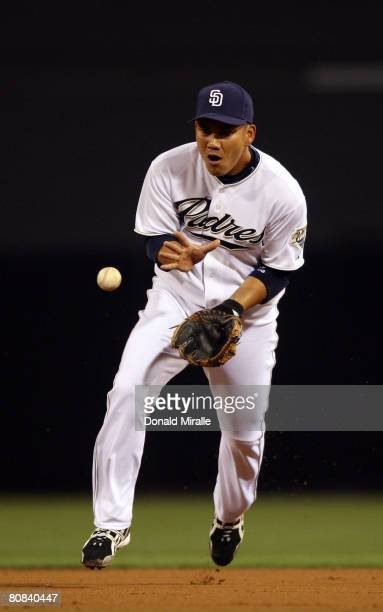 Second baseman Tadahito Iguchi of the San Diego Padres makes the play for an out against the San Francisco Giants April 23 2008 at Petco Park in San...