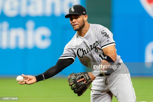 Second baseman Yoan Moncada of the Chicago White Sox throws out Francisco Lindor of the Cleveland Indians during the fifth inning at Progressive...