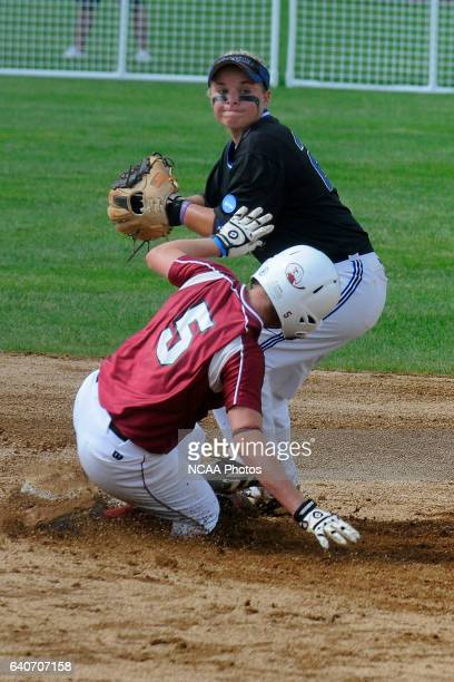 Second basemen Michele Ingram of University of Alabama in Huntsville turns a double play forcing out Julia Popovich during the Division II Women's...