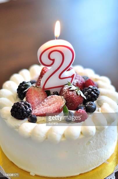 segundo bolo de aniversário - número 2 imagens e fotografias de stock