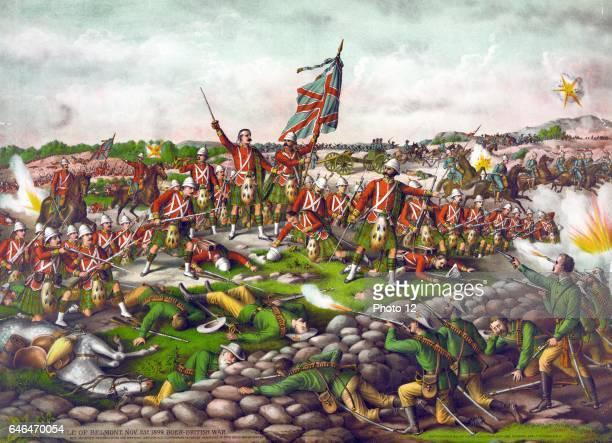 Battle of Belmont Orange Free State British people under Lord Methuen attacking Boer position under Commandant J Prinsloo Chromolithograph