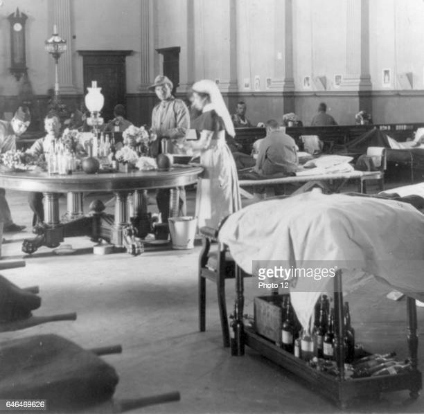 Where the sick and wounded British soldiers are cared for Interior of the Raadzaal Bloemfontein South Africa