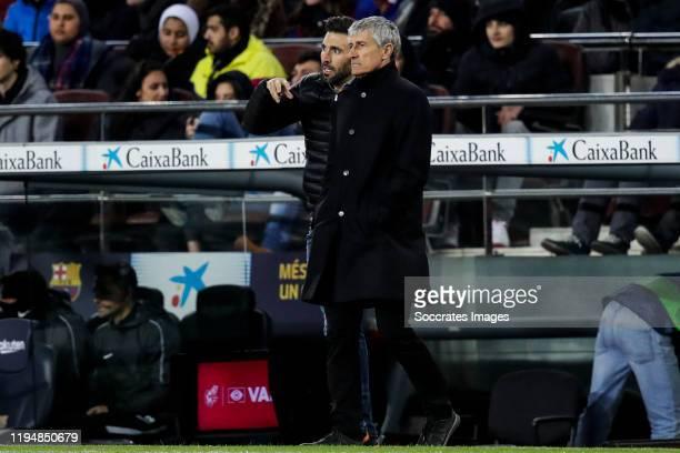 second coach Eder Sarabia of FC Barcelona coach Quique Setien of FC Barcelona during the La Liga Santander match between FC Barcelona v Granada at...