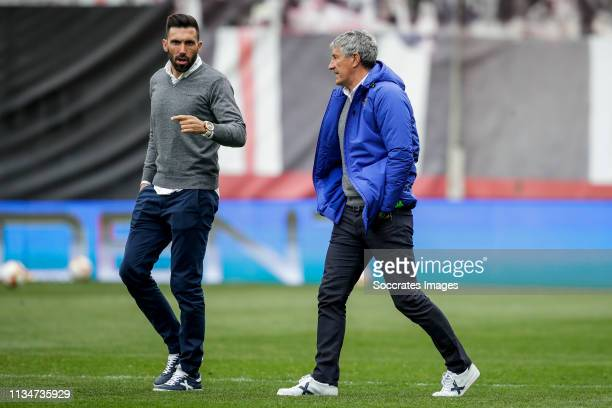 second coach Eder Sarabia of Real Betis coach Quique Setien of Real Betis during the La Liga Santander match between Rayo Vallecano v Real Betis...