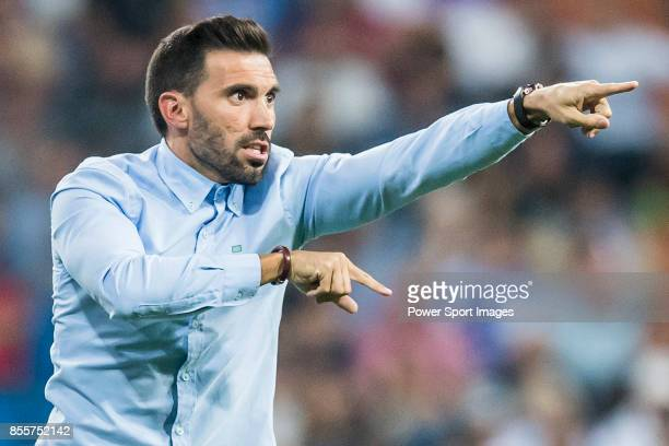 Second coach Eder Sarabia of Real Betis reacts during the La Liga 201718 match between Real Madrid and Real Betis at Estadio Santiago Bernabeu on 20...