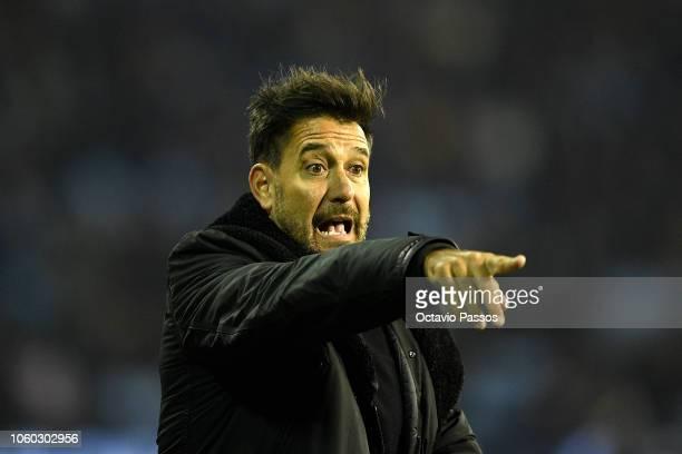 Second coach Gustavo Lema of Celta de Vigo reacts during the La Liga match between RC Celta de Vigo and Real Madrid CF at AbancaBalaidos on November...