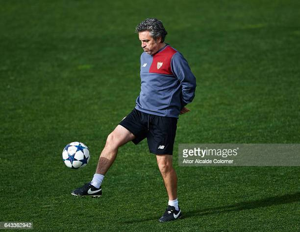 Second coach of Sevilla FC Juanma Lillo in action during their training session prior to their match of Champions League Round of 16 1st Leg against...