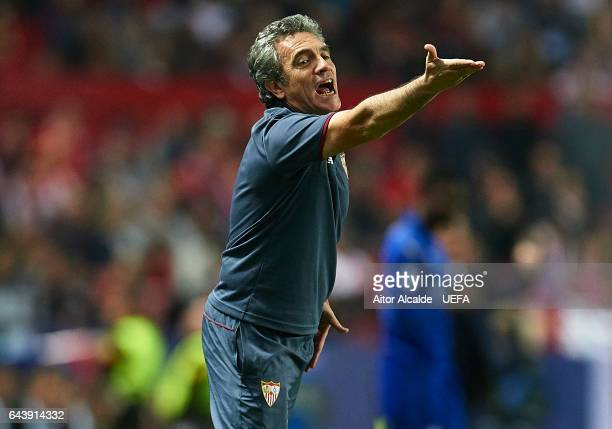 Second coach of Sevilla FC Juanma Lillo reacts during the UEFA Champions League Round of 16 first leg match between Sevilla FC and Leicester City at...