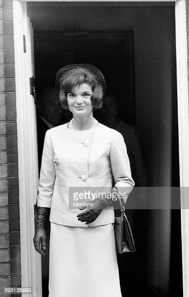 Second day of the visit of American President John F Kennedy and his wife Jackie to London England Jacqueline Kennedy leaving the London home of her...