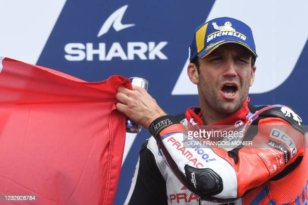 Second Ducati Pramac Racing French rider Johann Zarco celebrates, after the French MotoGP race of the French Grand Prix, in Le Mans, northwestern...
