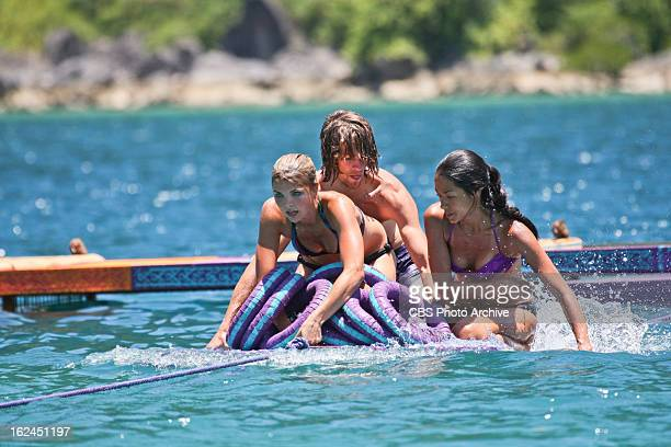 CARAMOAN MAY 25 'Second Episode' Andrea Boehlke Erik Reichenbach and Brenda Lowe of the Bikal Tribe compete during the Immunity Challenge on the...