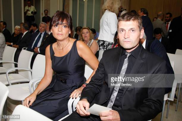 Second FCBarcelona's Coach Tito Vilanova and his wife Montse Enchaure attend the gold medal ceremony honouring Pep Guardiola as recognition for his...