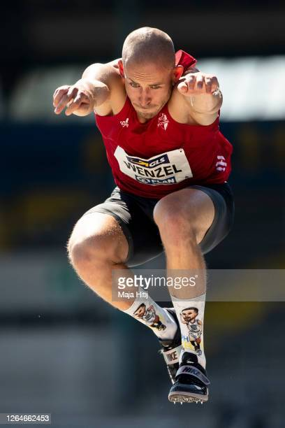 Second Felix Wenzel competes during men triple jump final of the German Athletics Championships 2020 at Eintracht Stadion on August 08, 2020 in...