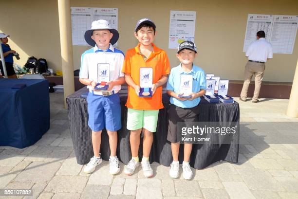 Second first and third place putting skills for boys age 1011 category Adam Anderson left Kai Hirayama center and Tyler Tamayori pose with their...