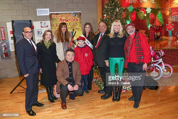 Second from left LR Actress Cynthia Gibb supermodel Carol Alt director of marketing at Sightseeing New York David Chien Miss USA 2014 Nia Sanchez PAL...