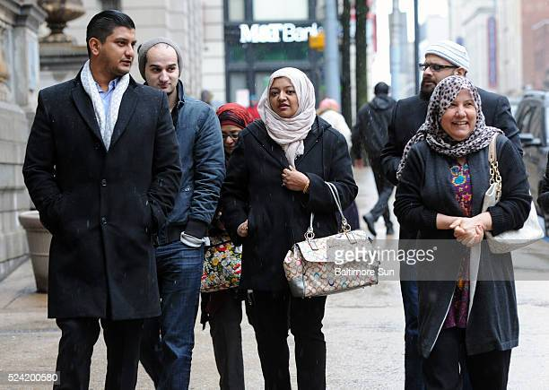 Second from left Yusuf Syed brother of Adnan Syed family friend Rabia Chaudry and right Shamim Rahman mother off Yusuf and Adnan leave Courthouse...