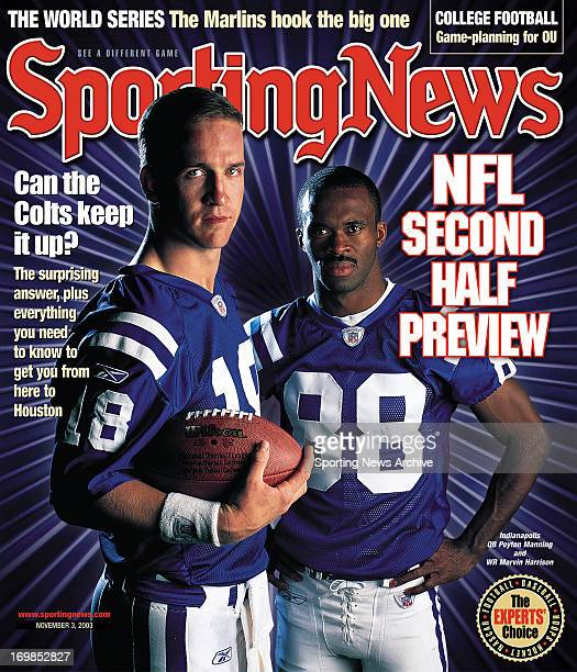 Indianapolis Colts QB Peyton Manning and WR Marvin Harrison November 3 2003 NFL second half preview Can the Colts keep it up