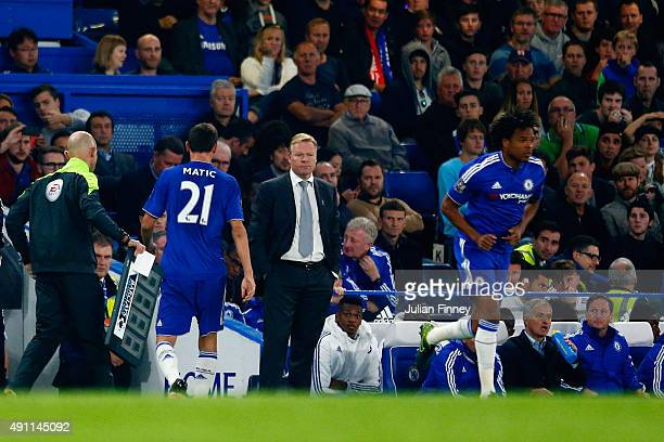 Second half substitute Nemanja Matic of Chelsea is replaced to Loic Remy during the Barclays Premier League match between Chelsea and Southampton at...