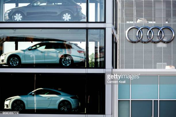 Second hand Audi passenger cars are exhibited in a tower at an Audi dealership on May 8 2018 in Berlin Germany According to media reports German...