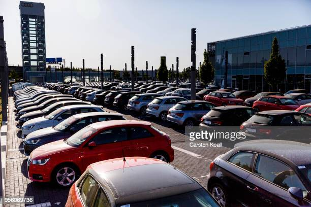 Second hand Audi passenger cars stand on display at an Audi dealership on May 8 2018 in Berlin Germany According to media reports German authorities...