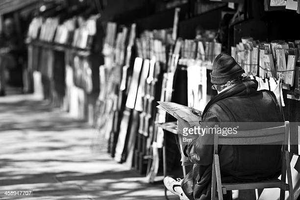 second hand bookseller le bouquiniste and his stand, paris, france - celebrities photos stock pictures, royalty-free photos & images