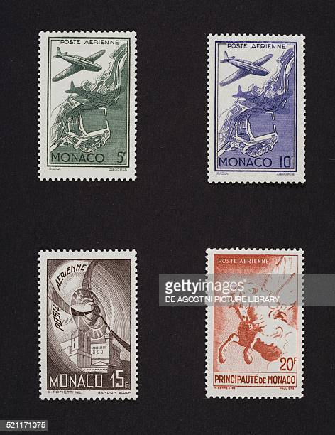 Second issue of airmail stamps top Plane flying over a port bottom from left Aircraft propeller in motion and winged horse 1941 Principality of...