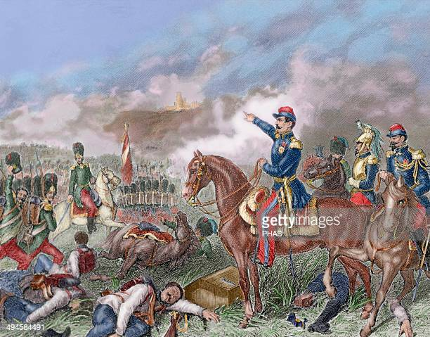 Second Italian war of Independence Napoleon III in the Battle of Solferino Colored engraving 1881