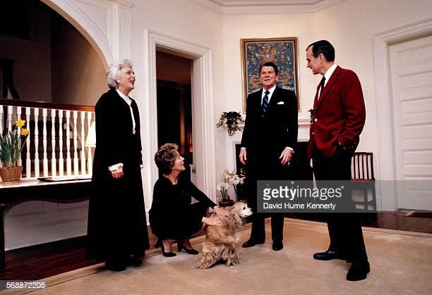 Second Lady Barbara Bush, First Lady Nancy Reagan, President Ronald Reagan, Vice President George H.W. Bush and the Bush's Golden Cocker Spaniel, C....