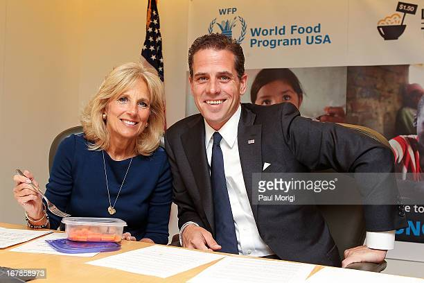 Second Lady Dr Jill Biden and World Food Program USA Board Chair Hunter Biden taking the Live Below the Line Challenge eating and drinking on $150 a...