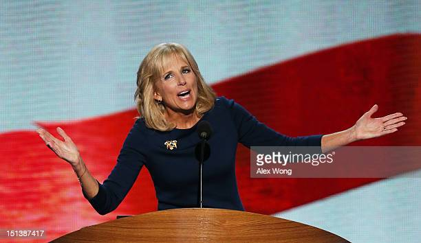 Second lady Dr. Jill Biden speaks on stage during the final day of the Democratic National Convention at Time Warner Cable Arena on September 6, 2012...