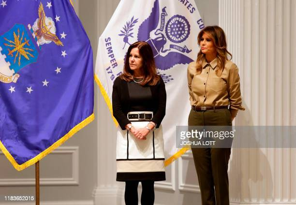 Second Lady Karen Pence and First Lady Melania Trump attend a Red Cross event to assemble comfort kits for troops deployed overseas at the American...