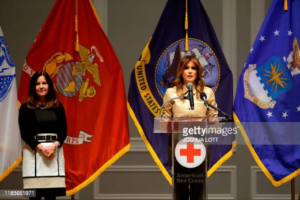 Second Lady Karen Pence and First Lady Melania Trump attend Red Cross event to assemble comfort kits for troops deployed overseas at the American Red...