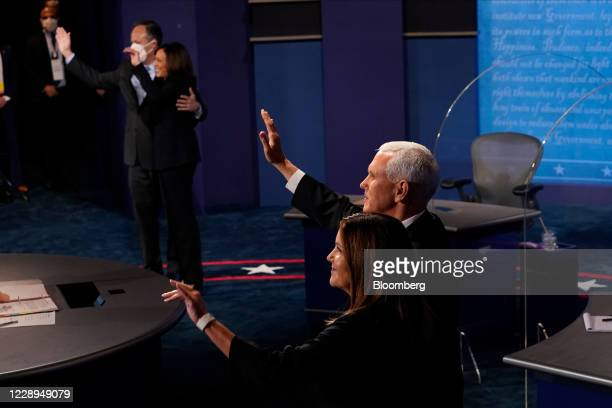 Second Lady Karen Pence, from right, U.S. Vice President Mike Pence, Senator Kamala Harris, Democratic vice presidential nominee, and husband Douglas...